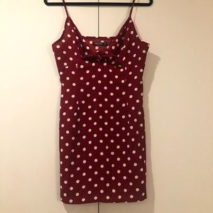 Nasty Gal Red & White Polkadot Mini Dress